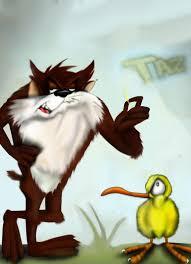 taz mania taz with a kiwi bird by redadder515 on deviantart