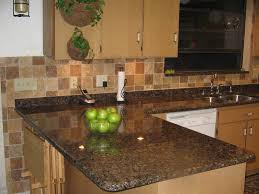 granite countertop country blue kitchen cabinets glass tile