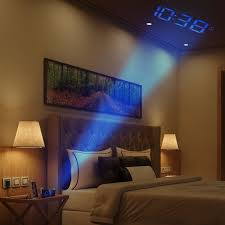 Alarm Clock With Light On Ceiling Phone Charging Projection Clocks Projection Alarm Clock