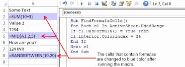how to find cells containing formulas in excel