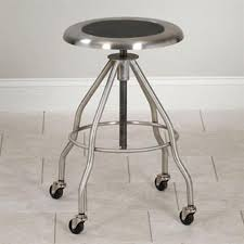 clinton adjustable stainless steel stool with casters with