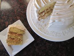 whipped cream cake with caramel whipped cream frosting and a