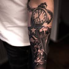 3d awesome clock and simple star tattoo golfian com