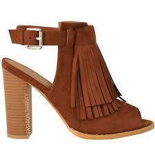 Brown Fringe Ankle Boots Ladies Womens Tassel Fringe Shoes Block High Heel Ankle Boots