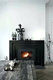 interior good age fireplace design solid cherry wood shelf black