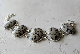silver bracelet jewelry images Snowflake obsidian stone bracelet grey and black bracelet 925 jpg
