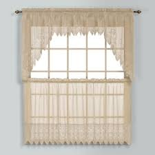 Window Treatments In Kitchen - elegant white priscilla lace kitchen curtain pieces tiers swag