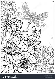 Flowers For Birds And Butterflies - decorative flowers birds and butterflies coloring book for