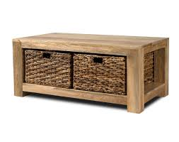 refurbished furniture cream coffee table with wicker baskets for