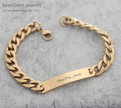 bracelet with name images Custom personalized name engraved men bracelet customize with jpg