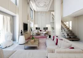 Decorating Ideas For Living Rooms With High Ceilings Clean White Living Room With High Ceilings Decorating Ideas The