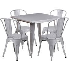 white outdoor table and chairs square silver metal indoor outdoor table set with 4 stack chairs