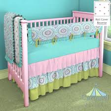 Solid Pink Crib Bedding Decoration Solid Pink Crib Bedding In Aqua Circles Puffs Teal