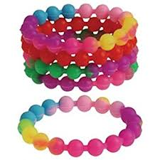 dozen assorted rainbow stretchy silicone bead