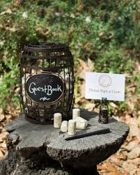 wine barrel chalkboard cork cage guestbook idea for vineyard