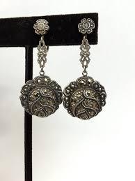 20 s earrings vintage jewelry earrings antique sterling silver marcasite