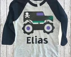 monster truck boys birthday applique shirt customizable