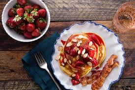 cuisine pancake buttermilk pancakes with roasted strawberries recipe epicurious com