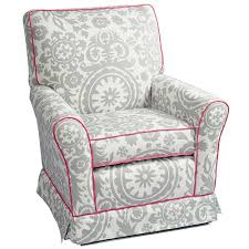 capri glider recliner in precious with pink piping and