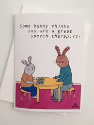 speech therapist rabbit thank you card 5x7