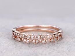 2pcs half eternity wedding band diamond ring solid 14k rose gold