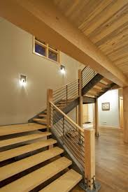 Modern Stair Handrails Magnificent Modern Stair Railing With Sconce Wood Staircase