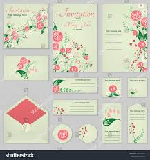 Greeting Cards For Invitation Collection Greeting Cards Stylized Roses Wild Stock Vector