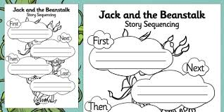 jack and the beanstalk story sequencing worksheet jack and the