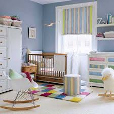 modern blue wall paint color of the baby boy room decor that has