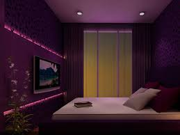elegant purple bedroom with tv on wall and recessed lighting for small bedroom design ideas