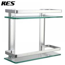 Bathroom Glass Shelves With Rail Bathroom 2 Tier Glass Shelf With Rail Aluminum And Thick