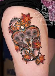 Locket Tattoo Ideas Adorable Neotraditional Owl Heart Locket By Chris Rigoni Tattoo