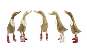 wooden duck in white wellies from dcuk wooden duck