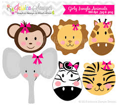 jungle baby shower invite instant download girls jungle animal clipart girly jungle