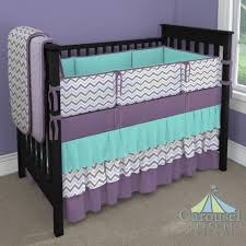 Purple And Teal Crib Bedding Custom Nursery Bedding Grey Chevron Slate And Lilacs