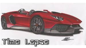 lamborghini drawing lamborghini aventador j drawing time lapse youtube