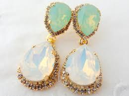 white opal crystal white opal mint chandelier earringsopal bridal earringsmint