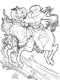 headless horseman halloween coloring page get more halloween