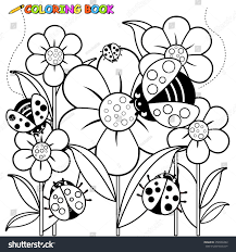 ladybugs flowers coloring page stock vector 258938492 shutterstock
