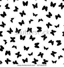 random black white butterflies silhouettes pattern stock vector