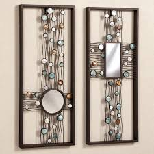 high brown wooden picture frame with circle and rectangle mirror