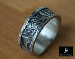 rustic mens wedding bands unique silver wedding band cuttlebone rustic mens ring mens