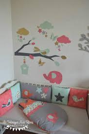 stickers elephant chambre bébé décoration chambre bébé fille éléphant étoiles oiseaux corail