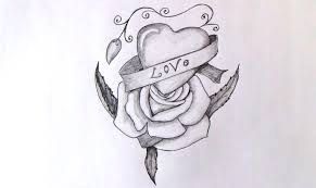 easy pencil drawings of hearts and roses drawing of sketch