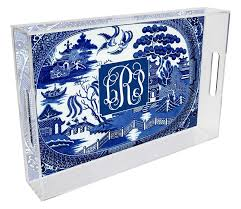 personalized tray t1386 blue willow personalized lucite tray