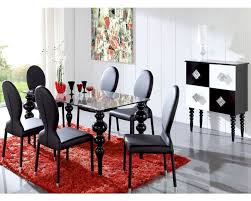 modern black dining set glass top table european design spain 33d221