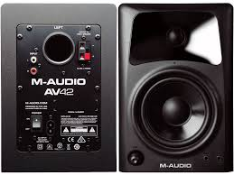 pro audio speakers for home theater m audio av42 active compact desktop reference monitor speakers for