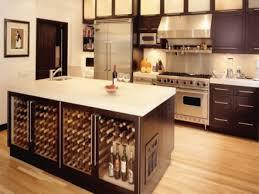 cherry wood saddle shaker door kitchen island with wine fridge