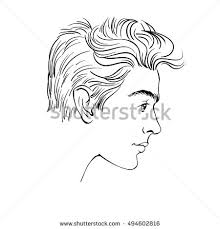 profile young man hand drawn sketch stock vector 494602816