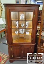 henkel harris solid cherry 12 pane corner cabinet in finish 24